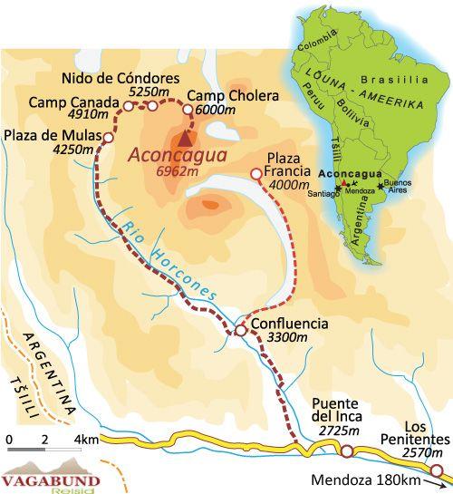 Aconcagua climb - Tour Map
